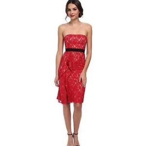 BCBG Alexandra dress red lace strapless